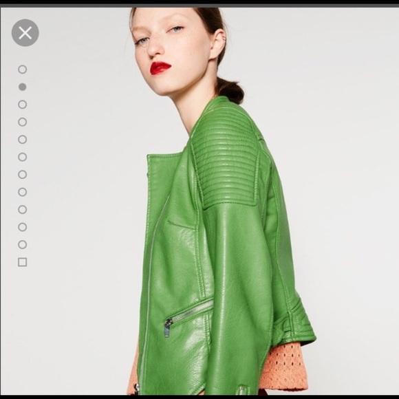 17e4f5bd1 Zara Jackets & Coats | Green Leather Biker Jacket | Poshmark